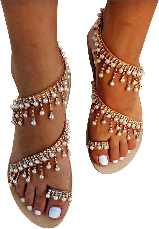 soyienma Thong Sandals for Women,2021 New Womens Bohemia Flat Sa