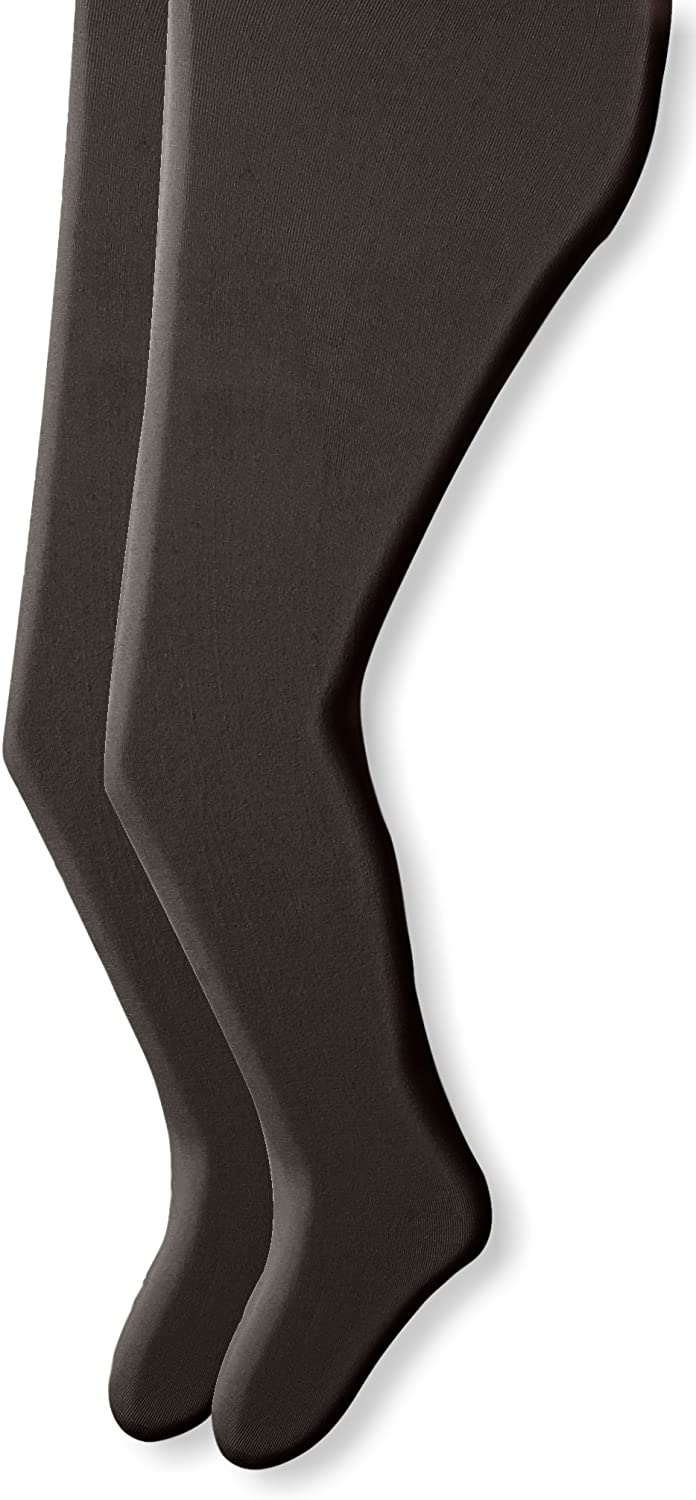 Country Kids Girls' Big Signature Microfiber Opaque Tights 2 Pairs, Black, 9-11 Years