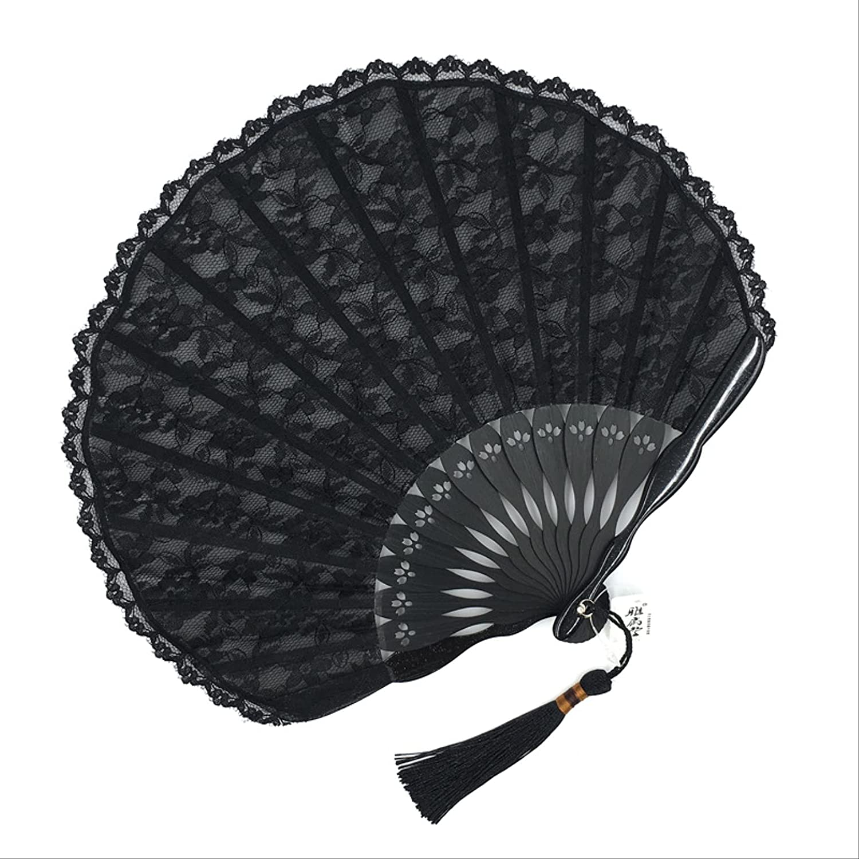 hmjsmj Handmade Lace Soldering Japanese Folding Fan Fo SEAL limited product Lady Vintage