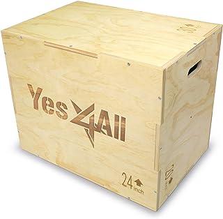 Yes4All 3 合 1 木制塑料盒,4 种不同尺寸 (16/14/12-20/18/16-24/20/16-30/24/20) - 内含:包装螺丝,方便组装