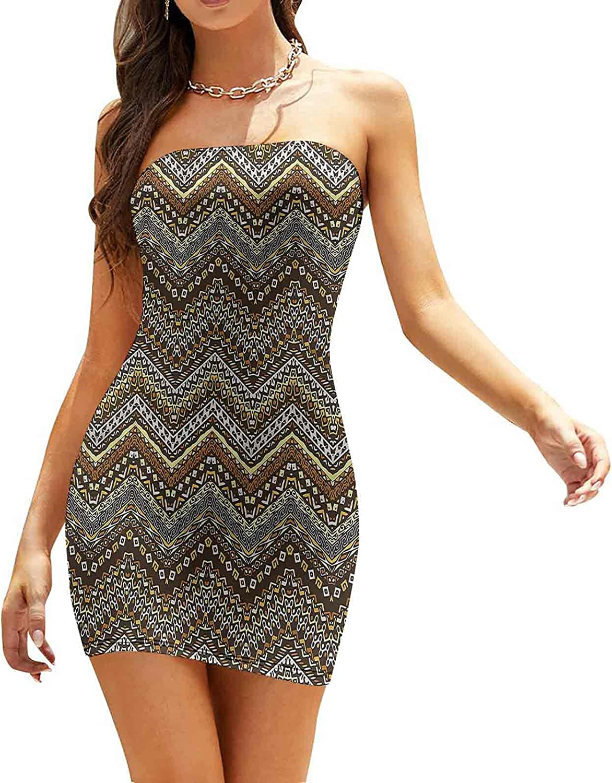 Women's Strapless Bodycon Club Dress Cheetah Pattern Dresses