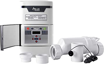 BLUE WORKS Salt Water Pool Chlorine Generator System BLSC Chlorinator| Free Flow Switch | 5 Year Limited Warranty | Cell Plates Made in USA (15,000 Gallon, White Cell)