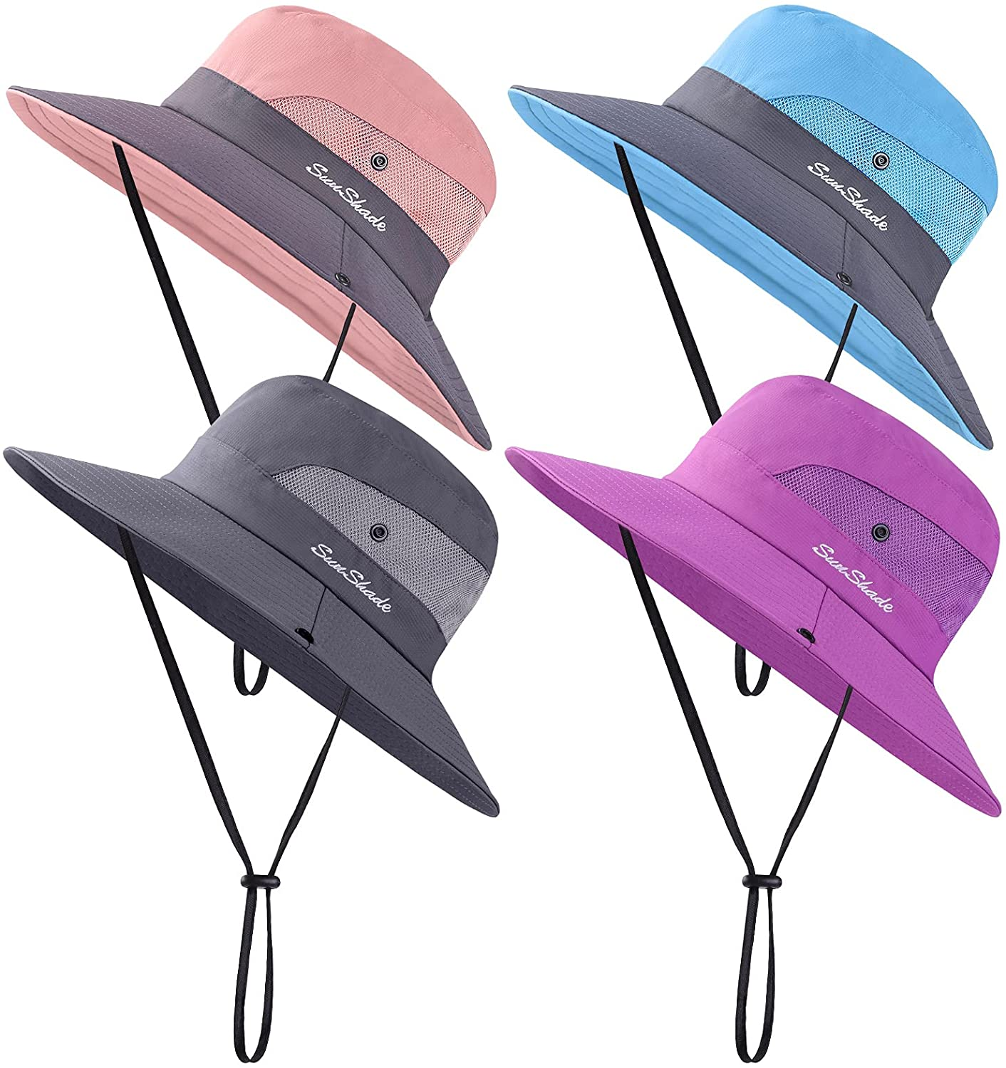 Cooraby 4 Pack UV Women Summer Sun Hat Ponytail Hole Cap Wide Brim Hat Beach Cap for Hiking and Fishing