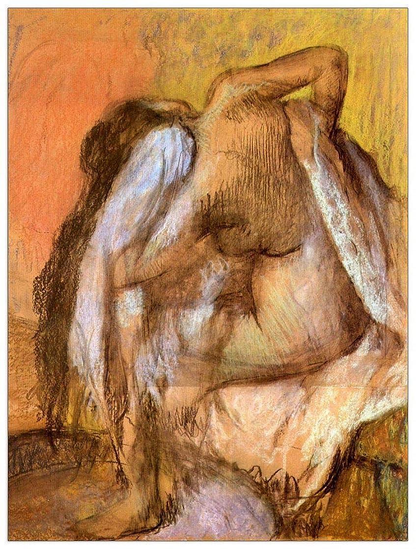ArtPlaza TW93096 Degas Edgar - Seated Female Nude Drying Neck Decorative Panel 27.5x35.5 Inch Multicolored