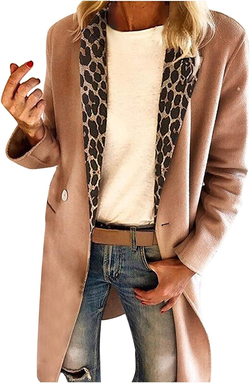 Jushye Women Leopard shipfree Stitching Factory outlet Long Sleeve Pea Lapel P Coat