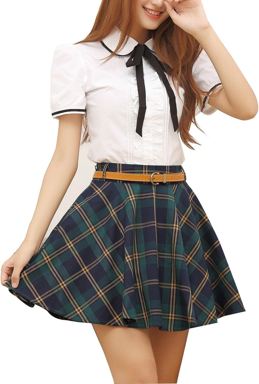 Gihuo Women's Plaid Pleated High Waist Schoolgirls Mini Tartan Skirt