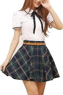 Women's Plaid Skirt School Uniform Pleated Mini Tartan Skirt