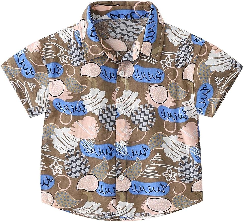 Baby Jungen Hemd Kurzarm T-Shirt Hawaii Hemd für Jungen Sommer Shirt Freizeithemd Reise Party Urlaub Hemd Gr.80-128