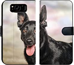 MSD Premium Designed Galaxy S8 Plus Fabric Wallet Case Image ID: 27580080 Black Puppy Winter Background