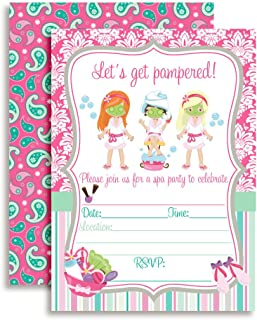 Spa Pampering Birthday Party Invitations for Girls, 20 5