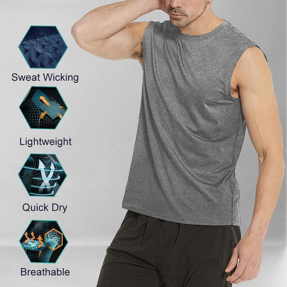 Workout Sleeveless T Shirts Gym Tank Tee Muscle Bodybuilding Fitness Undershirt MeetHoo Tank Tops for Men
