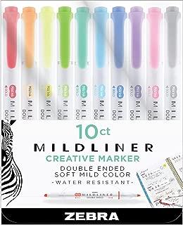 Zebra Pen Mildliner, Double Ended Highlighter, Broad and Fine Tips, Assorted Colors, 10 Pack
