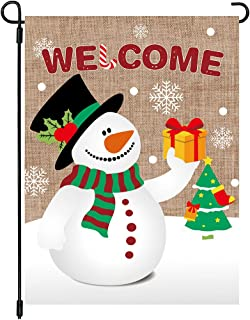 MIDOLO Christmas Burlap Welcome Garden House Flags with Snowman for Merry Christmas Holiday Decorations, Indoor/Outdoor Yard Flags, Double-Sided, Gift for Kids Children,12 X 18 Inch