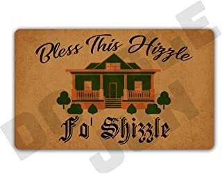 DoubleJun Funny Bless This Hizzle Fo' Shizzle Entrance Mat Floor Rug Indoor/Front Door Mats Home Decor Machine Washable Rubber Non Slip Backing 29.5