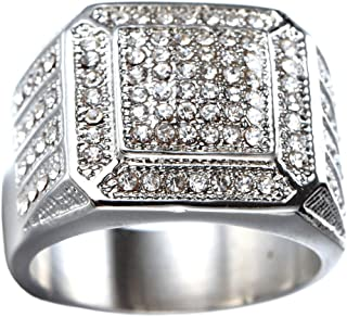 Men's Stainless Steel Hip Hop Iced Out Cubic Zirconia Square Rings Micro Pave CZ Wedding Bands