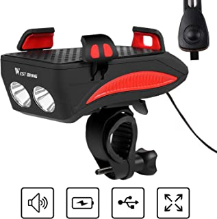 USB Rechargeable LED Bike Lights IP65 Waterproof 2400 Lumens USB LED Flashlight Powerbank for Phone Charging HEHEDA All in One Bicycle Headlight