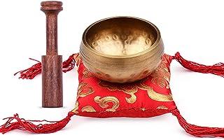 Tibetan Singing Bowl Set with 8.5cm/3.3inch Handmade Metal Sound Bowl & Soft Cushion & Wooden Striker for Meditation Sound...