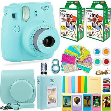 FujiFilm Instax Mini 9 Instant Camera + Fuji Instax Film (40 Sheets) + DNO Accessories Bundle - Carrying Case, Color Filters, Photo Album, Stickers, Selfie Lens + More (ICE Blue)