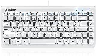 Perixx Periboard-407 Wired USB Mini Keyboard, Small Travel Portable Chiclet Key Keyboard with 11 Hot Keys, Piano White, US Layout