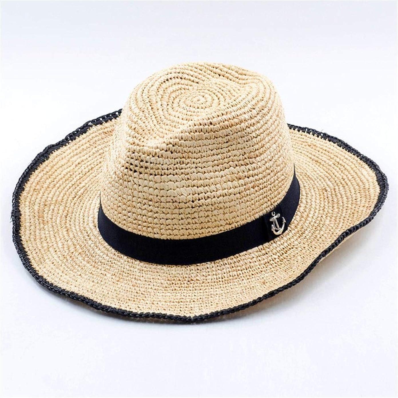 絶壁連結するワークショップ手織りラフィアジャズ麦わら帽子屋外旅行ビーチ日焼け止めラファ麦わら帽子