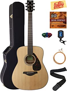 Yamaha FG800 Solid Top Folk Acoustic Guitar - Natural Bundle with Hard Case, Tuner, Strings, Strap, Picks, Austin Bazaar Instructional DVD, and Polishing Cloth