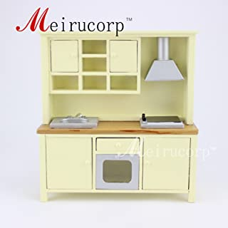 Meirucorp Fine Dollhouse 1/12 Scale Miniature Furniture Beautiful Kitchen Cabinet Cooking Bench