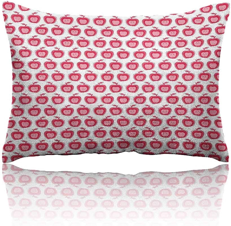 Apple Pillowcase Predector 16 x24 Girls Kids Design Pattern with Pinkish Apple Fruit in Doodle StyleDark Coral Pale Pink White