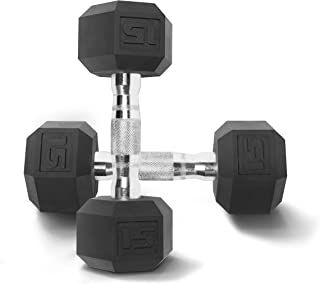 10 lb AmazonBasics Rubber Encased Hex One Single Dumbbell Workout Weight