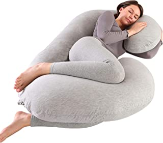 Victostar Pregnancy Pillow, 57 inches C Shaped Full Body Pillow with Jersey Cover,Maternity Pillow for Pregnant Women (Light Grey)