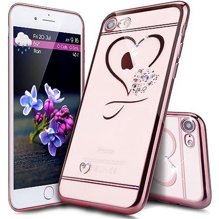 Coque iPhone 8,Coque iPhone 7,ikasus Bling Brillant Glitter Diamant strass avec L'amour Transparente Gel Silicone TPU Cadre Brilliant Chromé Etui ...