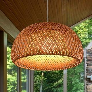 Vintage Tressé Lustre E27 En Bambou Naturel Lampe En Osier Lampe Manuel Creative Jardin Lumière Lustre Hauteur Réglable Lu...