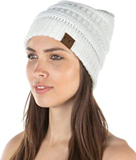 Funky Junque Exclusives Womens Beanie Solid Ribbed Knit Hat Warm Soft Skull Cap