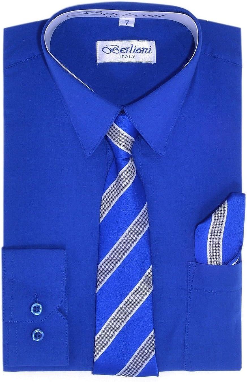 Berlioni Boys Long Sleeve Dress Many Hanky Sales results No. 1 Colors Shirts Tie Popular