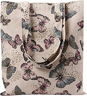 Caixia Women's Cotton Butterfly Print Canvas Tote Shopping Bag Light Brown