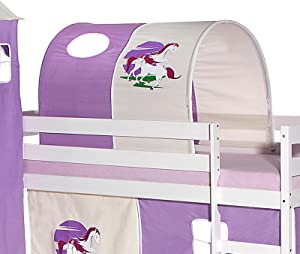 IDIMEX Tunnel Tente pour lit surélevé superposé mi-Hauteur Mezzanine Tissu Coton Motif Licorne Violet