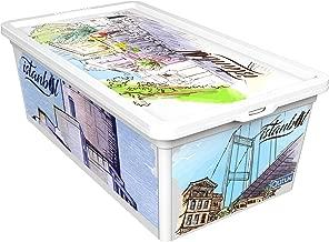 QUTU TrendBox Istanbul Culture-1 Storage Box - White, H 19 cm x W 11.5 cm x D 33.5 cm