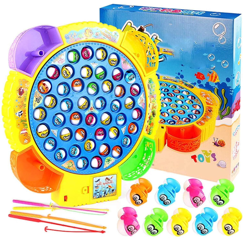 Creacom 釣りゲーム 電動回転 くるくる魚釣り フィッシング 電動 おもちゃ 遊び 知育おもちゃ 釣り遊び 男の子 女の子 贈り物 誕生日 プレゼント ランダムな色