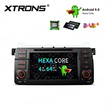XTRONS Android 9.0 Car Stereo Radio DVD Player 4G RAM 64G ROM Hexa Core in-Dash GPS Navigation 7 Inch Touch Screen Head Unit Supports Car Auto Play Backup Camera OBD2 TPMS HDMI for BMW E46 M3 Rover75