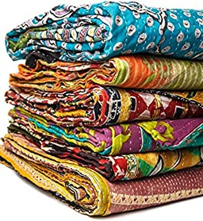 DIYANA IMPEX Wholesale Lot of Vintage Handmade Kantha Quilts,Reversible Throws (LOT of 1)