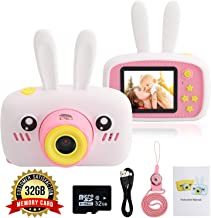 DLG Kids Camera, 8.0 Mega Pixels + 1080p HD Video + 32GB Memory Card + USB Rechargeable Battery + Soft Cute Silicone Shell Shockproof Cameras Video Great Girl Boy Gift (White)