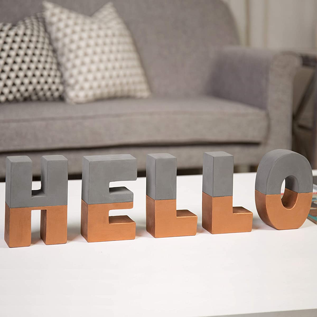 MyGift Hello Block Letters Sign Decorative 3D Standing Cement Word Art with Copper-Tone Accent