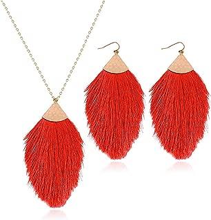 Fan Tassel Necklace Earrings Set for Women Boho Silky Thread Fan Fringe Necklace Drop Earrings