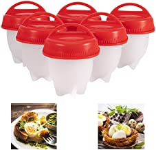 Silicone Egg Cooker, Hard Boiled Egg Maker 6 Pieces Silicone Egg Poachers, Boiled Egg Cooker without Shell, BPA Free Non-S...