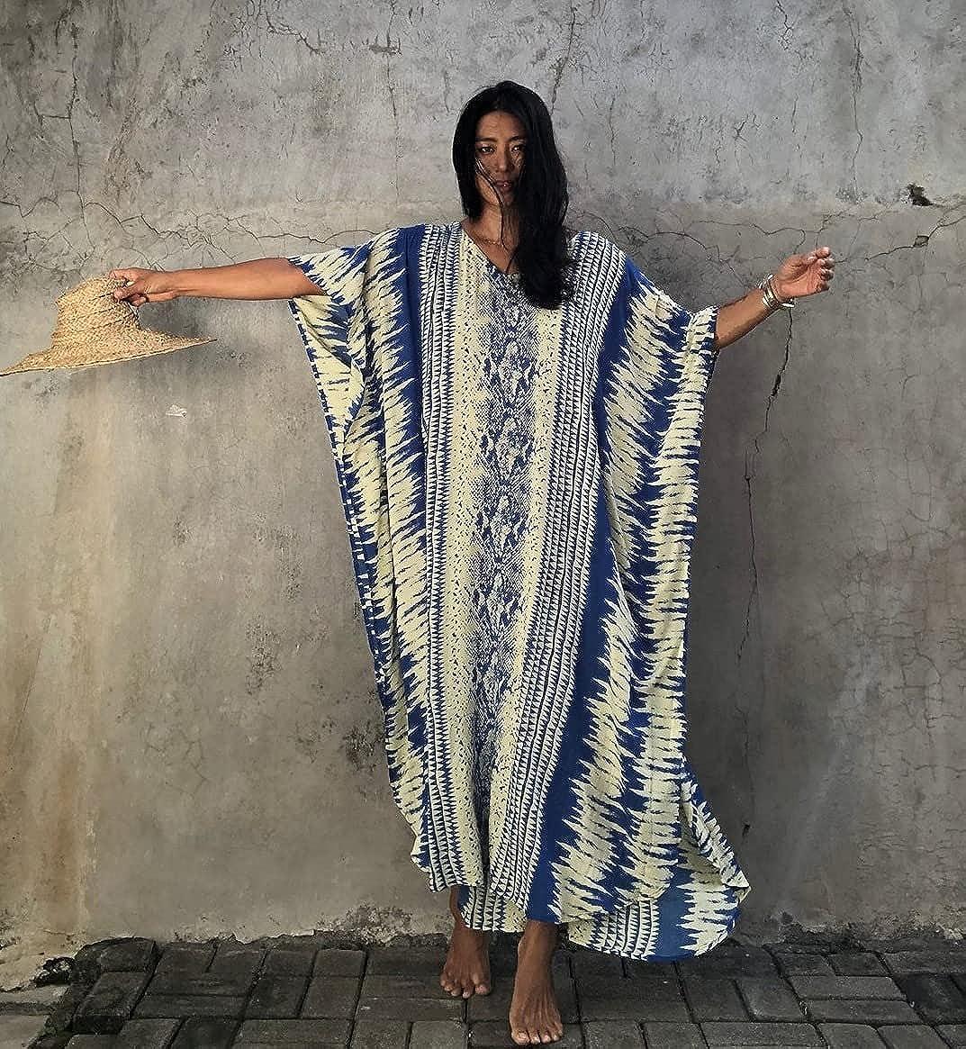 Opocos Women Loose Short Sleeve Swimwear Beach Caftan Dress Bathing Suit Cover Ups