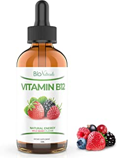Bio Naturals Vitamin B12 Liquid Drops for Adults & Kids - 100% Natural Sublingual Methylcobalamin - Highest Absorption - E...