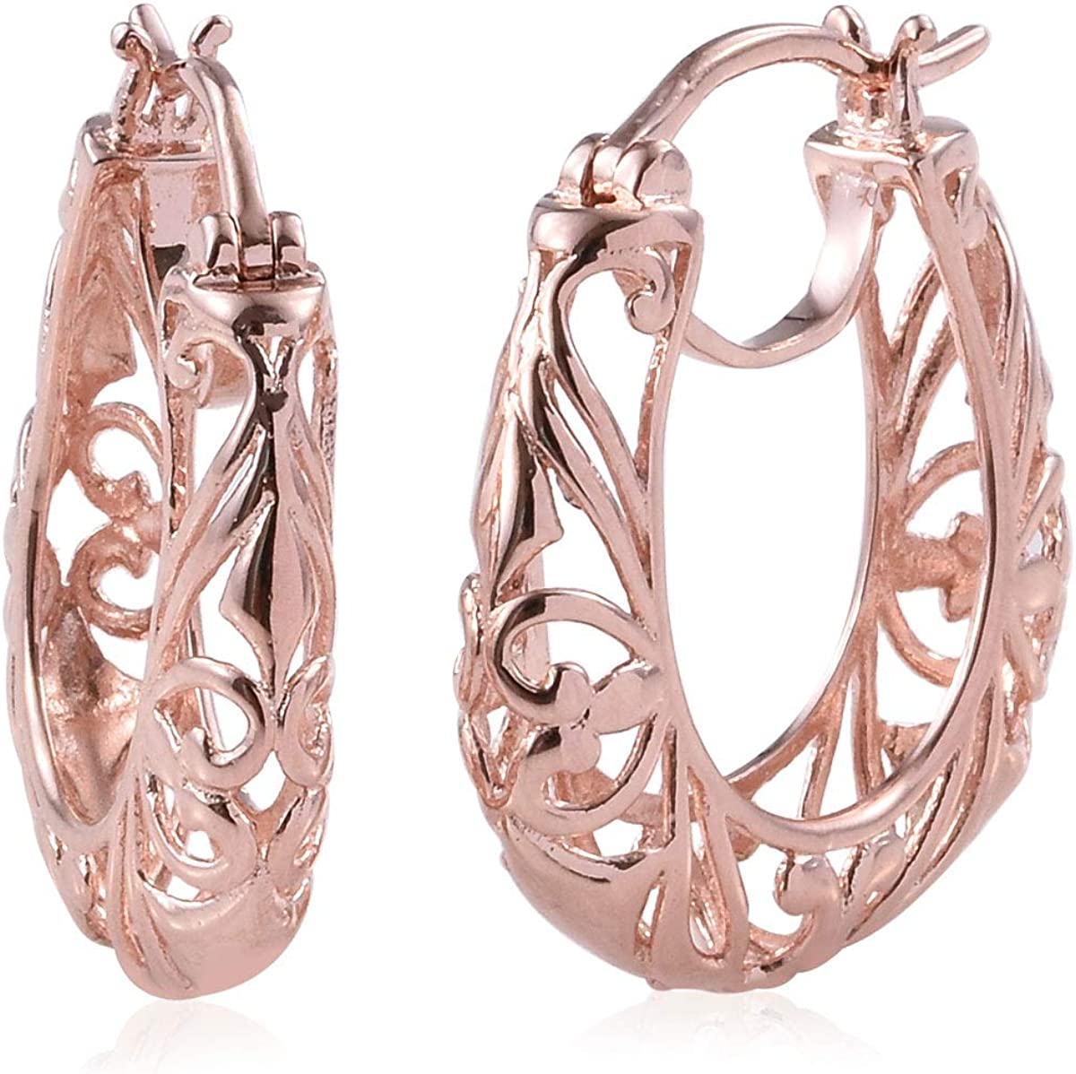 Shop LC Birthday Filigree Openwork Basket Hoops Hoop Earrings Real 14K Yellow Gold/Rose Gold/Platinum ION Plated for Women Jewelry Gifts