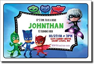 PJ Mask Birthday Party Invitation, 5 inches by 7 inches, Envelopes Included with Printed Option, Printed or Digital DIY Party Supplies Invitation Cards