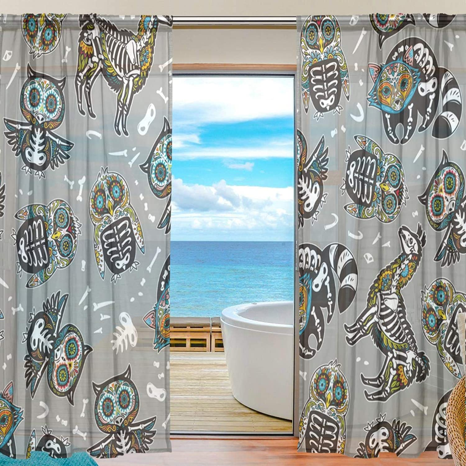 Death Animal 2 Pieces Curtain Panel 55 x 78 inches for Bedroom Living Room