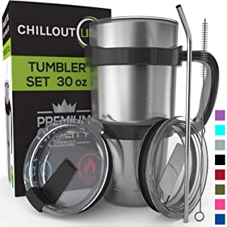 Stainless Steel Travel Mug with Handle 30oz – 6 Piece Set. Tumbler with Handle, Straw, Cleaning Brush & 2 Lids. Double Wall Insulated Large Coffee Mug Bundle