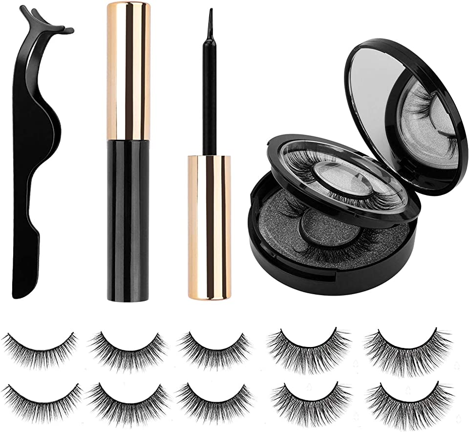 Magnetic Eyelashes with Eyeliner kit Reusable Natural Look Magnetic Lashes with Mirror Case Waterproof&Strong Magnetic False Lashes No Glue Needed(5-Pairs)